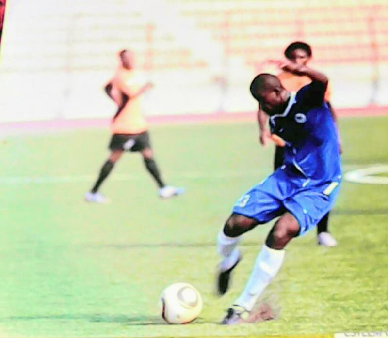 •Photo shows Aigbe in action in a Nigerian league game.