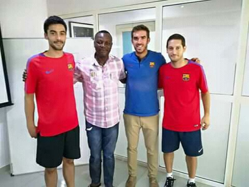 Photo shows Anthony Jibunoh with some officials of Barcelona.