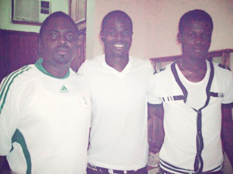 Photo shows Super Eagles assistant captain Edison Echiejile (Center) with fellow BJ Foundation FC alumnus and Super Eagles teammateNdubuisi Agu posing with their father figure and grassroots coach Douglas Idahosa (left) some years ago.