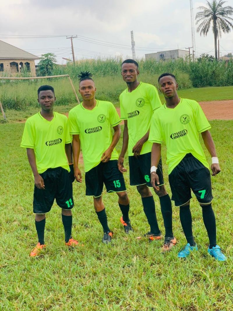 Photo shows players of Benin Warriors FC