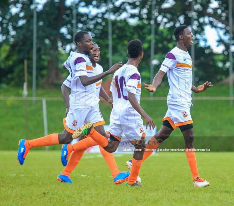 Photo shows Imade (in front) being pursued by excited teammates after he scored the only goal of the game for Uniben Royals.