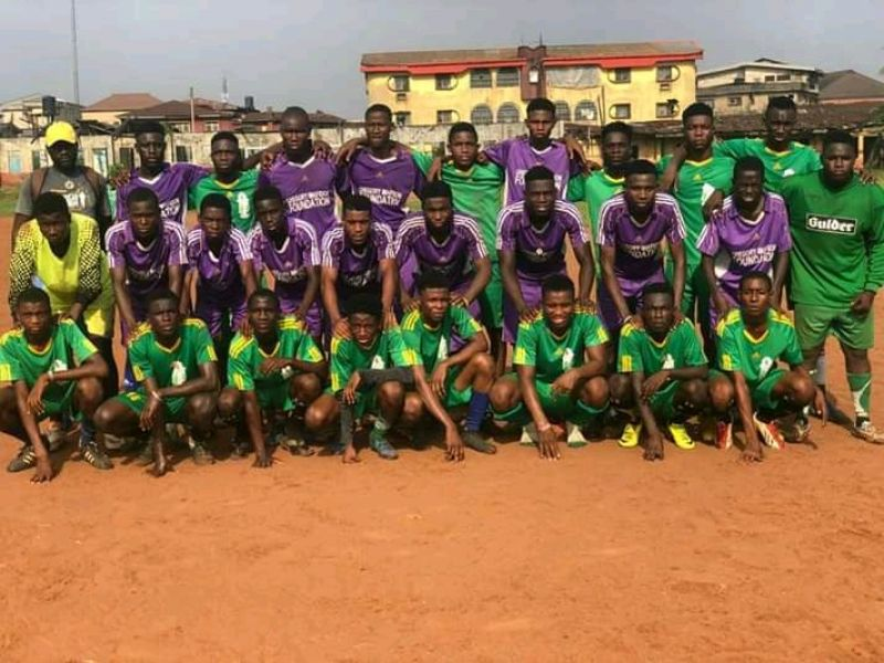 Dynamo Sports Foundation players line up. The club is presently participating in the Jun Cup competition for Under-16 and Under-12 players in Benin City.