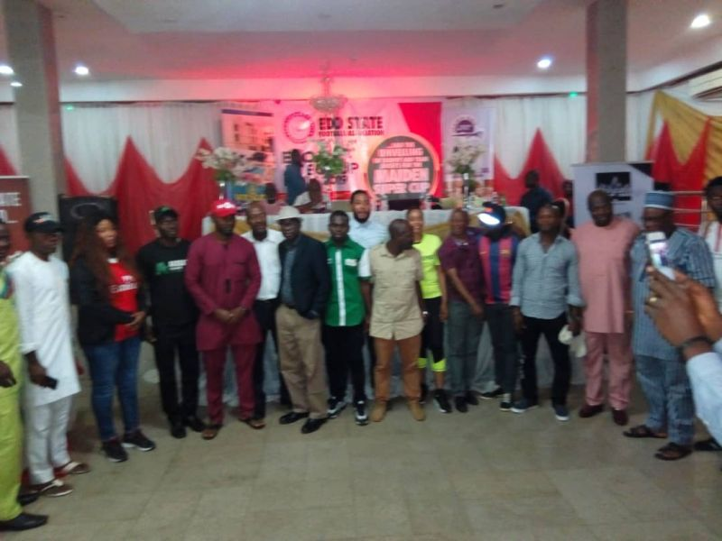 •Photo shows Edo State football stakeholders during the Edo Aiteo FA Cup draws