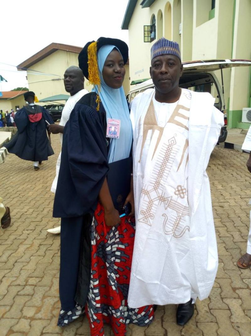 Fatima, the first daughter of Chairman, El-Kanemi Football Club of Maiduguri, Alhaji Zannah Mala-Kakaje, on Saturday, September 30, 2017, graduated from Al-Hikmah University, Ilorin, Kwara State. Photo shows father and daughter.