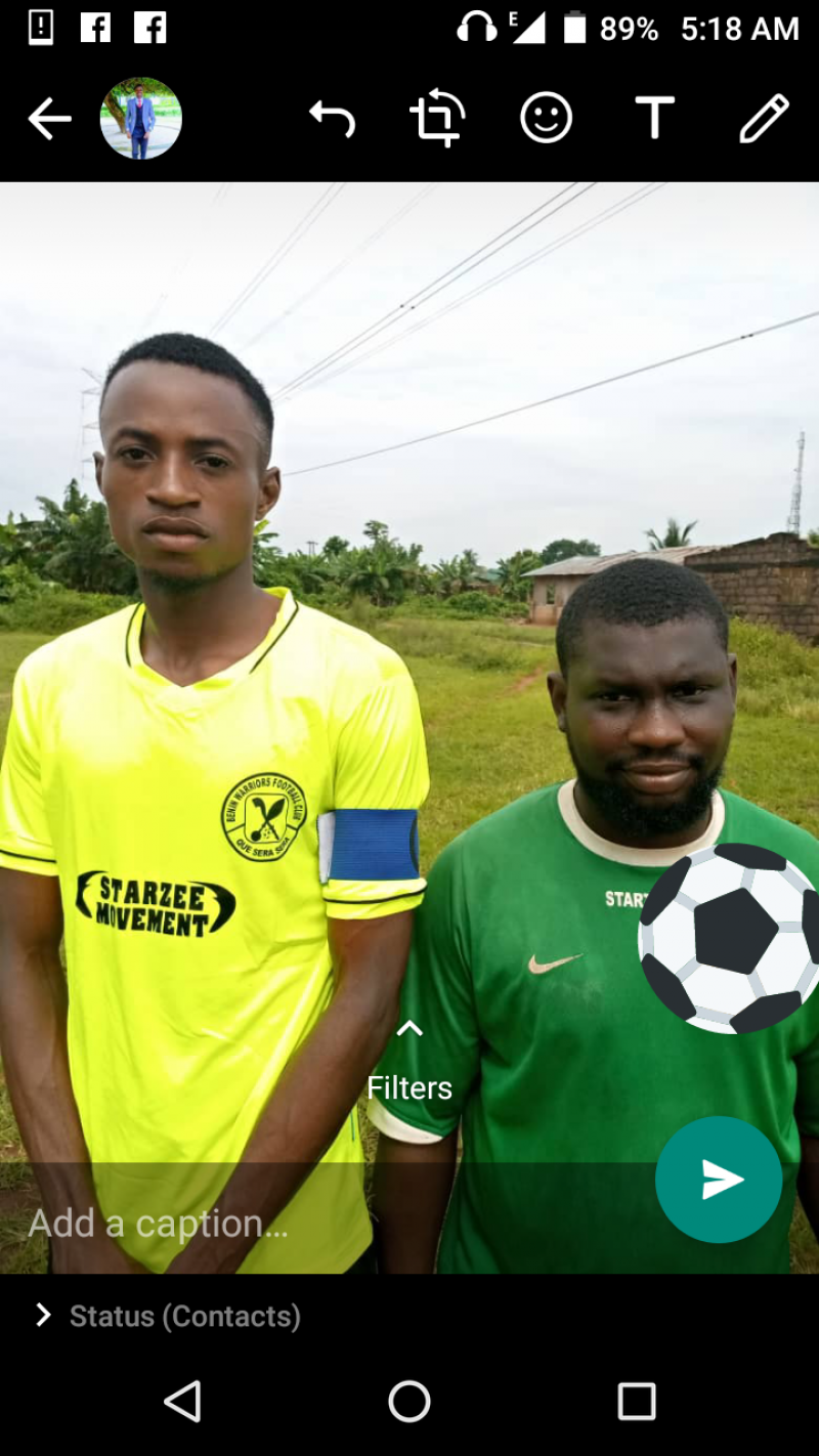 Benin Warriors captain Larry Eguavoen with the club's new retro lemon shirt. To his left is coach Israel Ekewe.