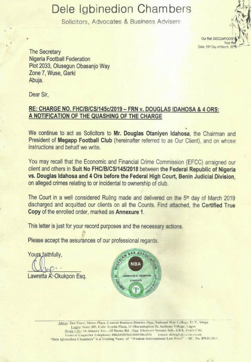 •Photo shows the copy of the letter Douglas Idahosa wrote through his lawyers to the NFF informing them of his vindication by the  Benin High Court.