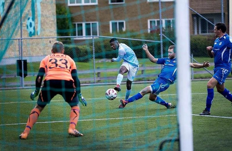 Photo shows Pascal Durugbor scoring