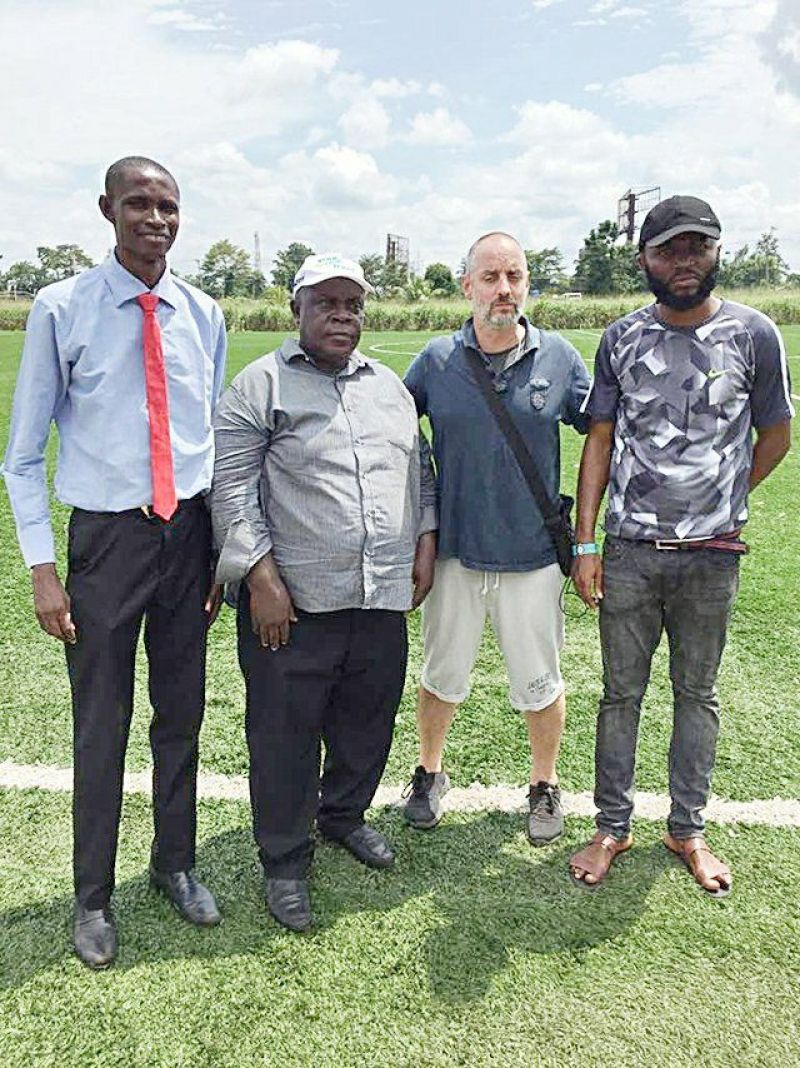 Photo shows Benin Warriors proprietor Nelson Dafe (1st from Right) and Chinice Sports CEO and Licenced players intermediary Ferdinand Oji (1st from left) post with two Europe-based players agents during a recent players' scouting program in Benin City.