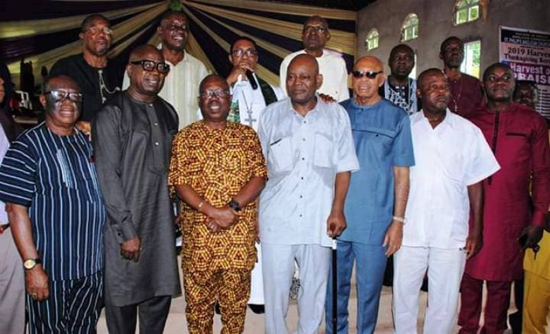 Rangers CEO Davidson Owunmi and other heavyweights with Christian Chukwu at the Thanksgiving Service on Sunday, August 5, 2019, for the Nigerian football legend who recently returned from foreign medical treatment.