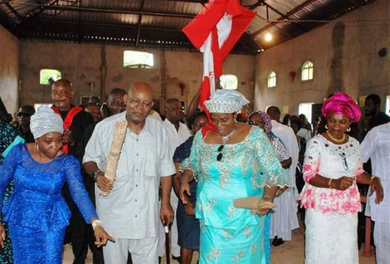 Nigeria's football legend Christian Chukwu, who recently returned from foreign medical treatment, dancing during the Thanksgiving Service on Sunday, August 5, 2019.
