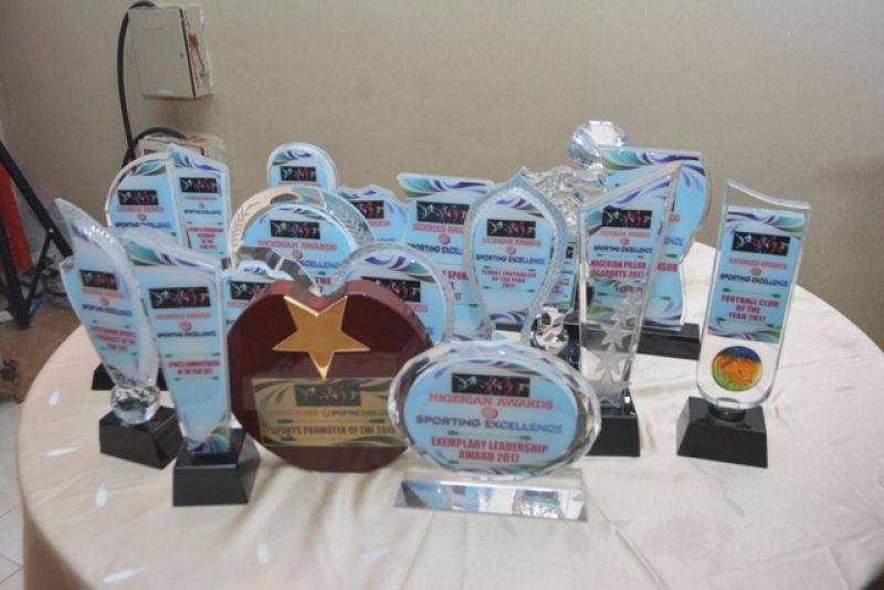 Photo shows various plaques that was presented to awardees at the Nigerian Award For Sporting Excellence organised by Daily Sports Nigeria, held on Saturday night, December 2, at Airport Hotel, Ikeja, Lagos.