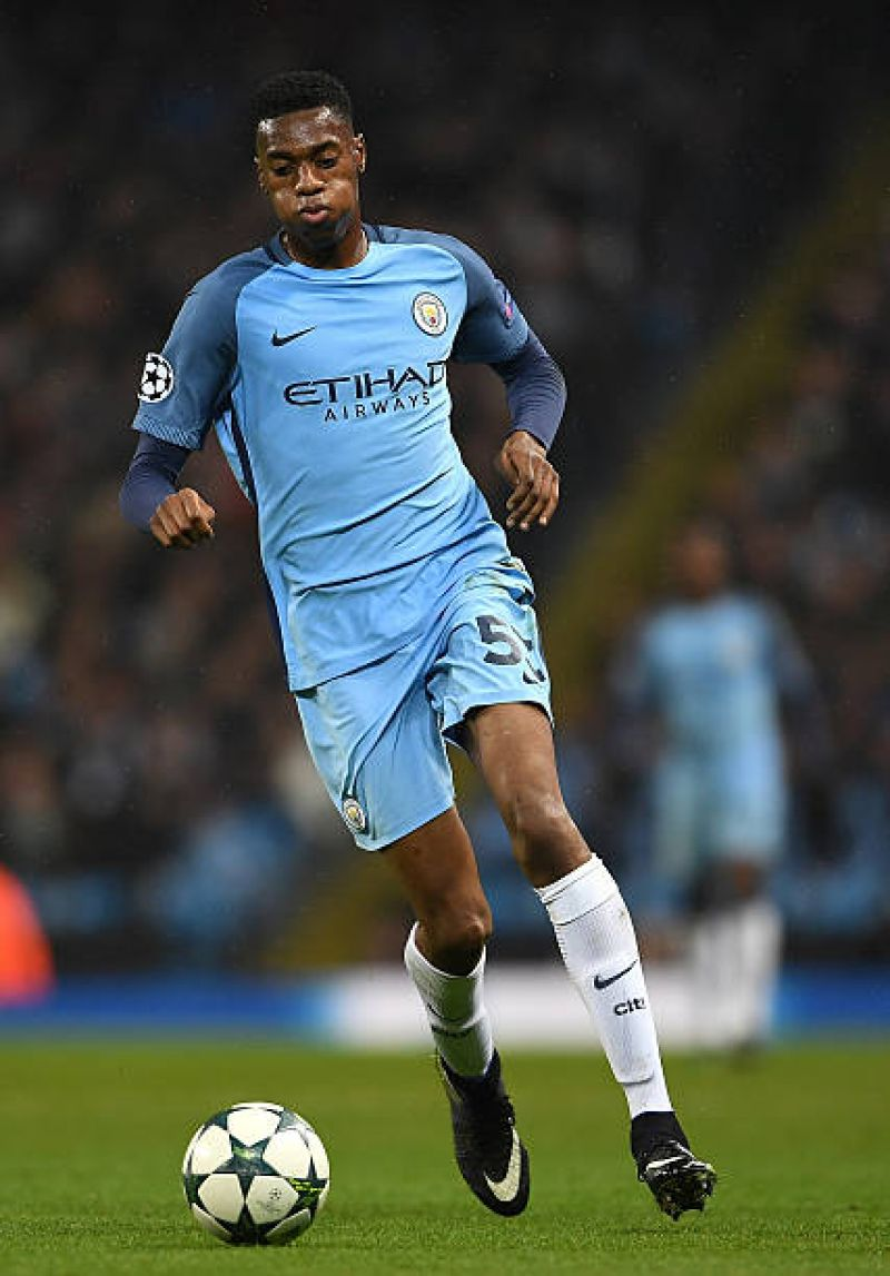 Photo shows Tosin Adarabioyo of Manchester city in action during the uefa league.