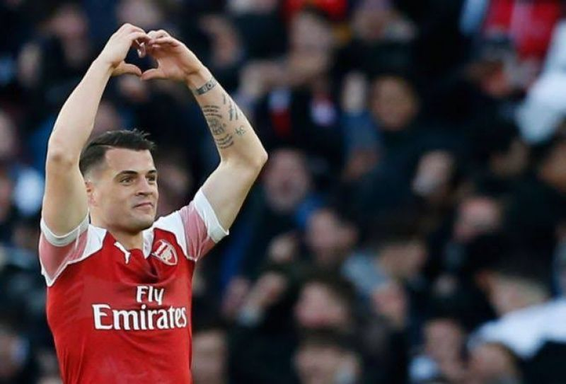 Photo shows Arsenal's match hero Granit Xakha after scoring against Man United
